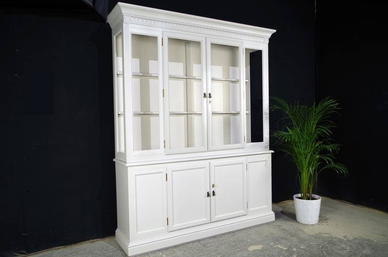 Wide Display Cabinet In Spell Grey Painted Vintage
