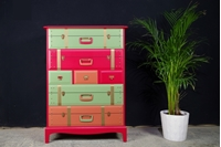 Picture of Travel Themed Stag 7 Drawer Tall Chest - Rectory Red