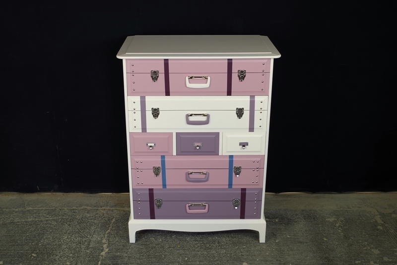 Travel Themed Stag 7 Drawer Tall Chest Titania Painted
