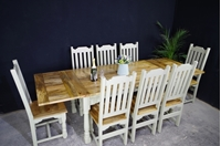 Picture of New large rustic distressed hardwood extending table and 6 or more chairs