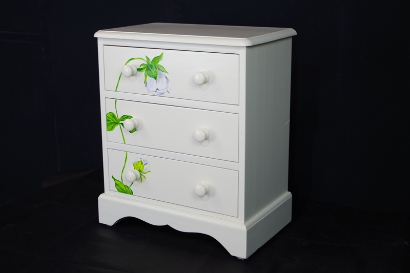 Small Pine 3 Drawer Chest With Flower Art Painted Vintage