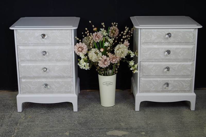 Pair Of Stag 4 Drawer Bedside Tables Painted Vintage