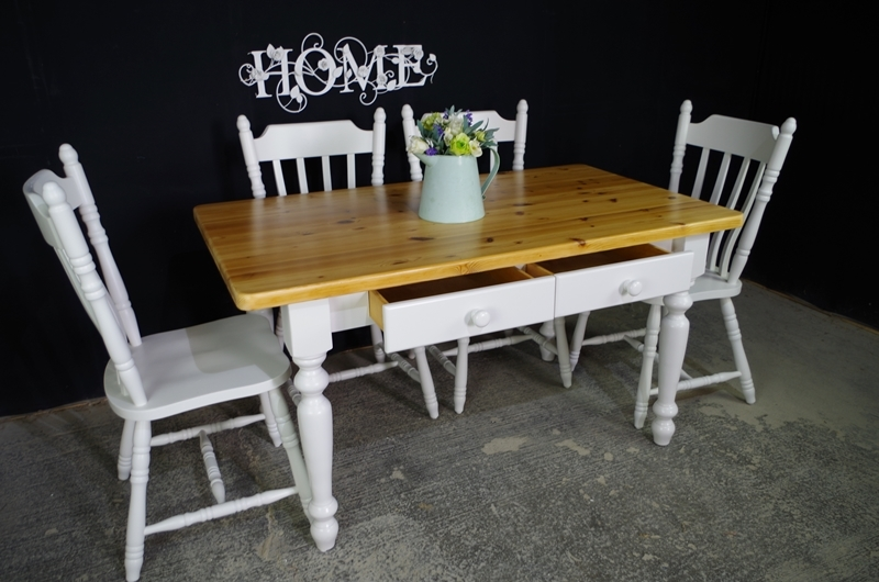 Two Drawer Pine Farmhouse Table And 4 Chairs Painted