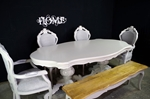 Picture of Large Italian Double Pedestal Dining Table + Louis Chairs + Bench