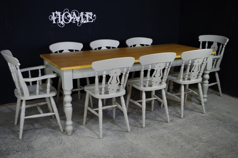 7ft Pine Farmhouse Table + 8 Fiddleback Chairs.