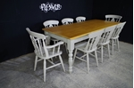 Picture of 7ft Pine Farmhouse Table + 8 Fiddleback Chairs.
