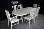 Picture of Extending Mahogany Dining Table and 6 upholstered panel back chairs