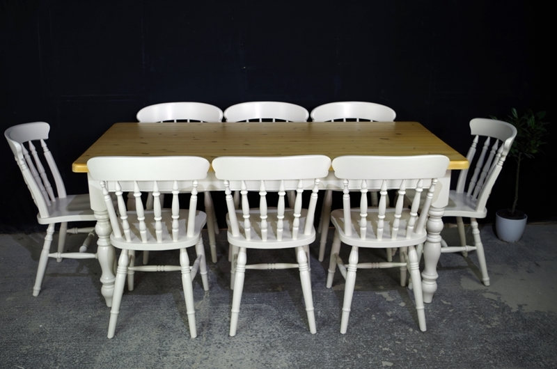Picture of 6ft Pine Farmhouse Table + 8 Beech Spindle back chairs