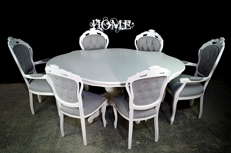 Brilliant French Style Dining Set Linen Upholstery Painted Vintage Download Free Architecture Designs Embacsunscenecom