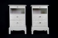 Picture of Pair of Stag Tea Shelf Bedside Tables - Lace Effect