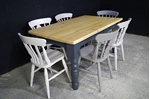 Picture of 5ft Pine Farmhouse Table + 6 chairs in Different Grays.