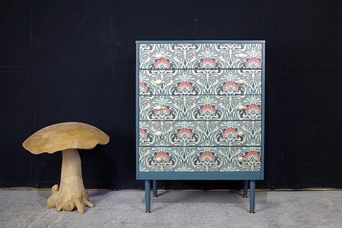 Retro 5 Drawer Chest Art Deco Decoupage Drawers Painted