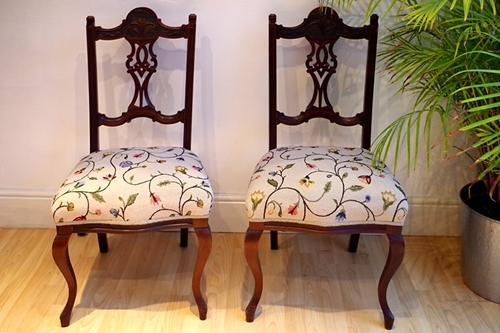 Picture of Pair of Antique Edwardian Upholstered Chairs