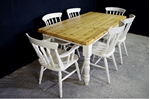 Picture of 6ft Pine Farmhouse Table + 6 Beech Spindle back chairs