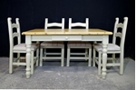 "Picture of 4'6"" Pine Farmhouse Table With Drawer & 4 Upholstered Farmhouse Chairs"