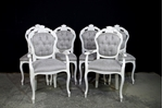 Picture of French Style Dining Chairs- Cristina Marrone Oleandro fabric in silver