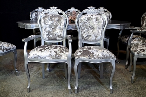 Picture of Silver Sparkle Large Italian Double Pedestal Dining Table + Louis Chairs
