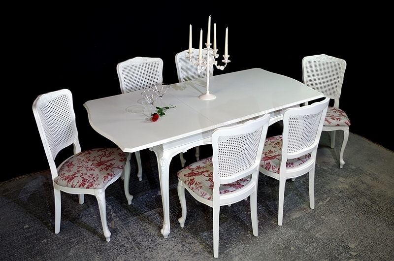 French-Style 'Gold & Feather' Extending Dining Table + 6 ...