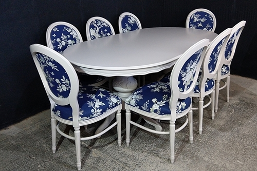 Picture of Large French Style Louis Table with 8 Balloon back Chairs
