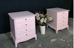 Picture of Pair of Stag 4 Drawer Bedside Tables - Rose Quartz