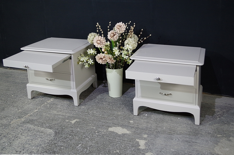 Pair Of Stag Bedside Tables In Spell Gray Painted Vintage