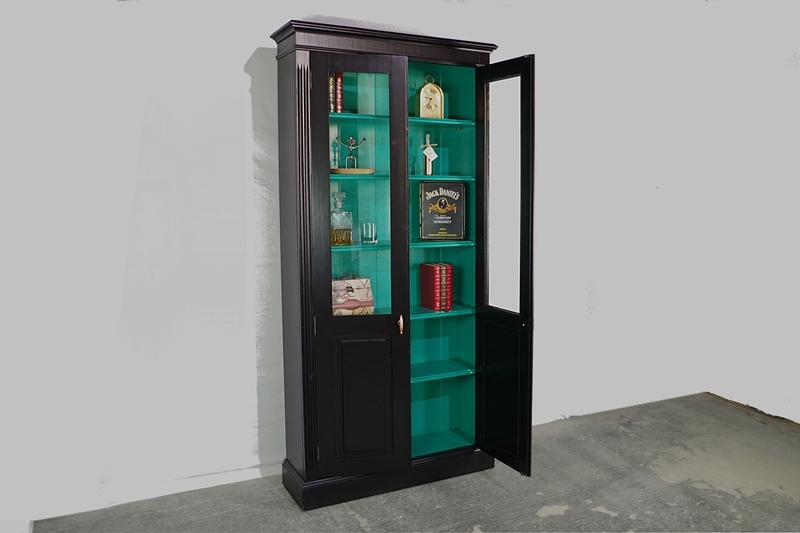 Picture of Pine Display/ Bookcase/Crockery Cabinet in Jet Black + Jade Jewel