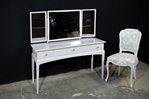Picture of Petite Stag Minstrel Dressing Table in Dimpse with Vintage French Style Chair