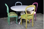 Picture of Round Italian Pedestal Table + 4 Harlequin Peacock chairs