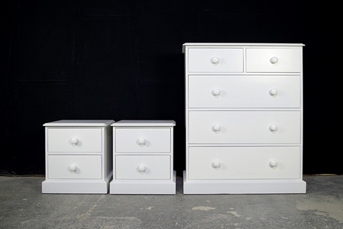 Picture of Large 5 drawer Pine Chest with matching Bedsides