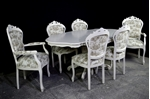 Picture of French Style Dining Set - Toile de Jouy Upholstery