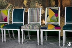 Picture of Set of Upholstered Dining Chairs in mixed luxury designer fabrics