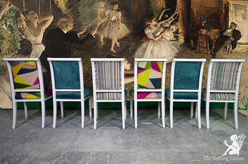 Set Of Upholstered Dining Chairs In Mixed Luxury Designer