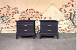 Picture of Pair of Stag Bedside Tables in Off Black