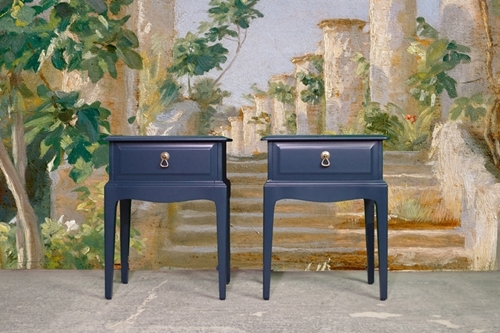 Picture of Pair of Stag Bedside Tables - Hague Blue