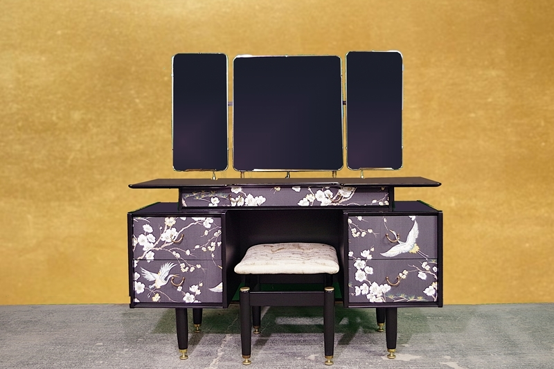 Picture of 1950s G Plan Tola Dressing Table with Mirrors and stool