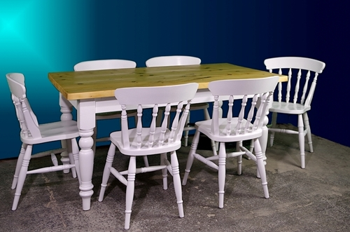 Picture of 5ft Pine Antique Farmhouse Table + 6 Spindleback chairs- Bianco Brillante