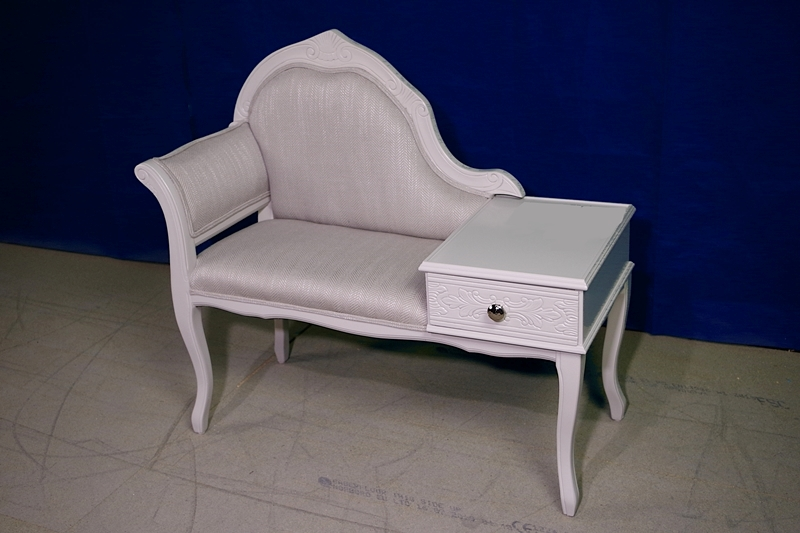 Vintage Telephone Seat In Edwin Fabric By Laura Ashley Painted