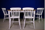 Picture of 5ft Pine Farmhouse Table + 6 Spindleback chairs- Bianco Brillante FF1357